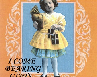 Birthday Card, Blank inside, Vintage Girl with Presents