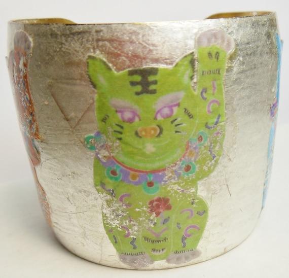 Maneki Neko    Lucky Cats    Brass Bangle   Brass Cuff   Brass Bracelet   11 karat white gold leaf