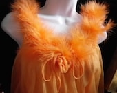1960's ORANGE  CHIFFON and  Feathered  Neckline shorty nightgown