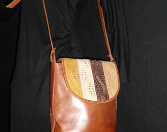 ITALIAN LEATHER and Suede handbag BOHO Vintage