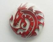 "1"" red dragon head Button Pin"