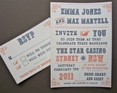 Reserved for JENNIE - THESE BOOTS wedding invitation suite & evening invitation