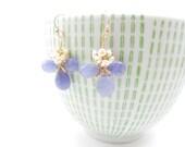 Tanzanite and pearl gemstone flower earrings