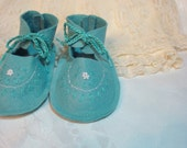 Teal  Wool Felt Baby Booties  3 to 6 months