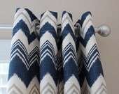 More Colors - Pair of Designer Custom Curtain Panels 50 x 108 Zazzle Birch with Grommets  Navy Zig Zag