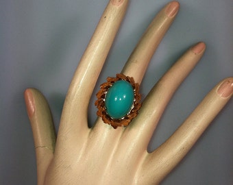 1960's Ring, Vintage Ring, Faux TURQUOISE, Cocktail Ring, Statement Ring, Turquoise Ring, Costume Jewelry, Old Store Stock, Fancy Setting
