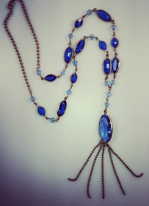 ESTATE Jewelry Art Deco CZECH Necklace Brass Glass Bohemian Sautoir Necklace 1920s Vintage