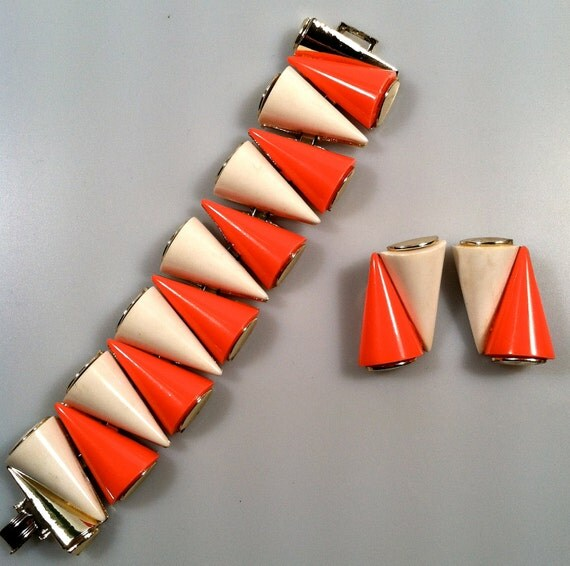 EAMES Era  Thermoplastic ATOMIC  Bracelet Earrings Set Mid Century Modern Geometric Book Piece