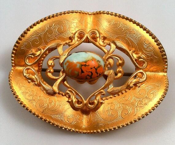ART NOUVEAU Sash Pin Engraved  BOHEMIAN Glass Stone  Gilded Ormolu Brooch Estate Jewelry