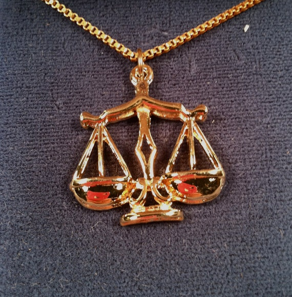 Zodiac LIBRA Necklace Scales of Justice 1970s Vintage Never Worn in Box Deadstock