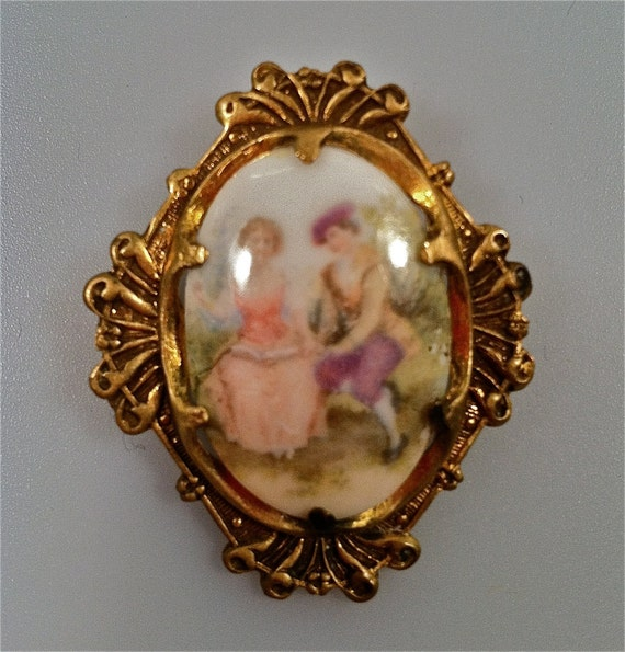 Miniature Porcelain Brooch PIN French Courting Scene 1920's/1930s Vintage ESTATE Jewelry