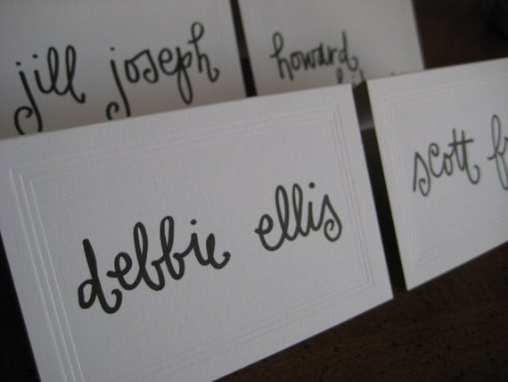 Escort Card Calligraphy - Fancy Free