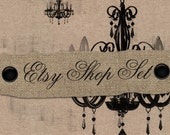 Premade 5- Piece Etsy Shop Banner Set No. 36  Vintage Chandeliers