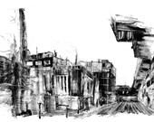 "E Huron Power Plant I 40 x 26"" monotype"