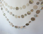 Paper Garland, Earth Tones, tan and brown, stripes, paisley, floral, reversible