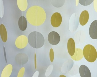 Paper Garland, Yellow, Gray, WEDDING, NURSERY, Baby, Birthday, Bridal Shower