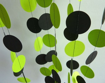 Bright Lime Green and Black Garland, Paper Garland, Bridal Shower, Birthday Decoration, Chartreuse Party Decoration, 10 ft. long