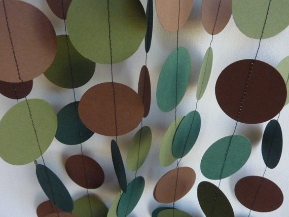 Earthy Garland, Olive Green, Evergreen, Brown