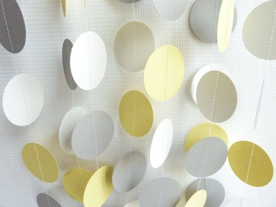 Yellow, Gray & White Circle Paper Garland, Wedding, Birthday, Mothers Day, Baby, 10 feet long