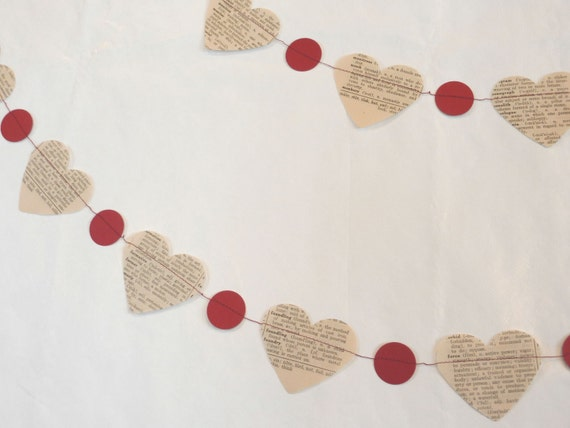 Paper Garland, Vintage Dictionary Heart Garland, 10 feet long