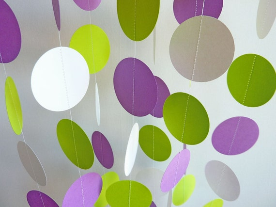 Paper Garland, Purple, Lime Green, White, BIRTHDAY PARTY, NURSERY, Party Decoration