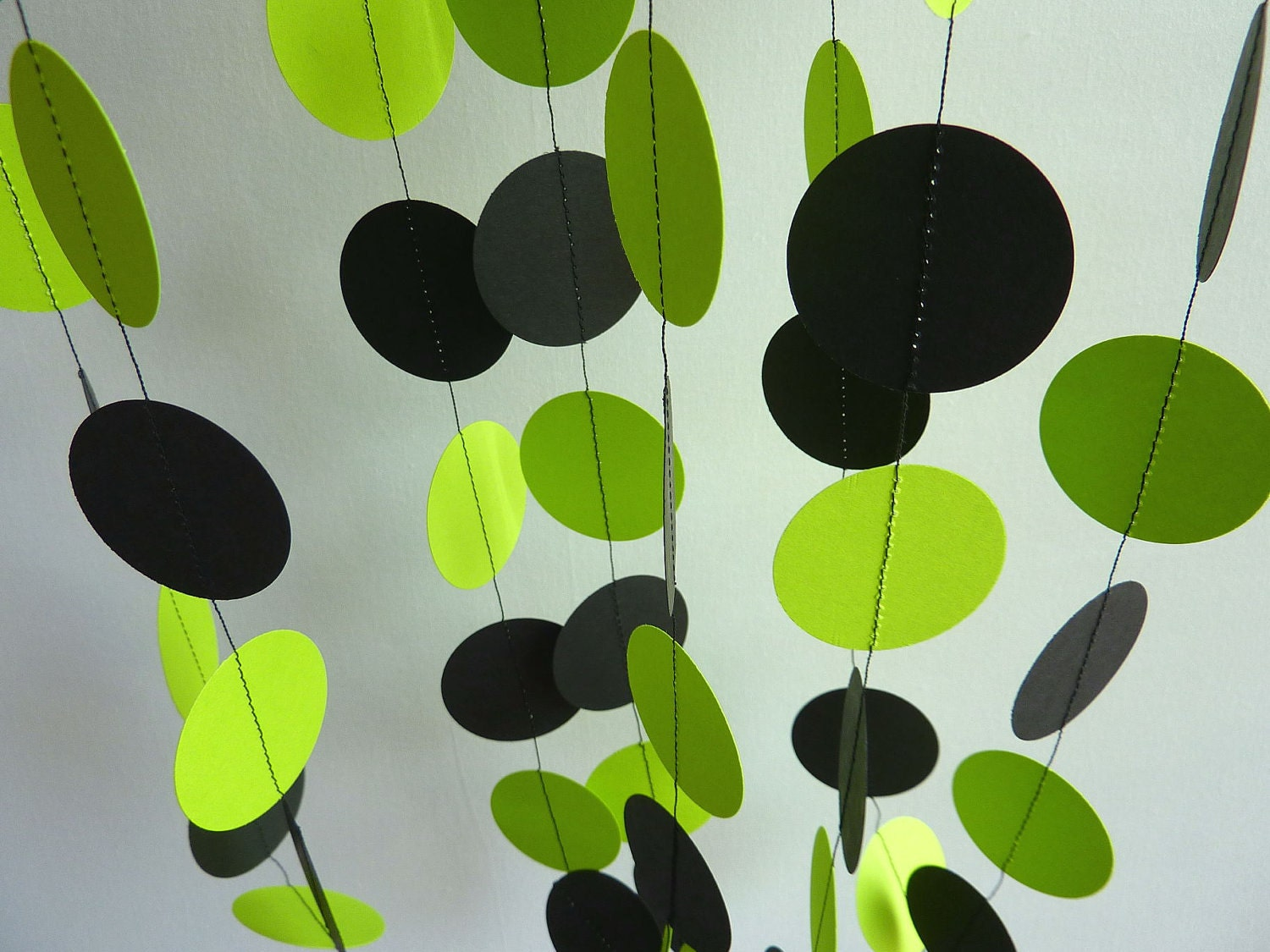 Bright Lime Green and Black Garland Paper Garland Bridal
