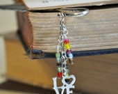 Colorful Czech and Silver Love Charm Metal Feather Bookmark