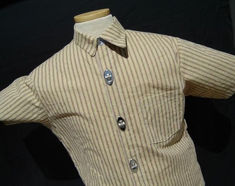 Mens Shirt- Awesome Asymmetrical Collar- Mens short sleeve shirt. with 3 metal clasp buttons