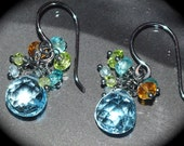 Blue Topaz Cluster Earring on Oxidized 925SS
