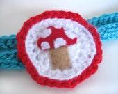 FREE SHIPPING Baby/Child Crocheted Headband Felt Mushroom Retro Inspired Cameo