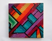 "Graffiti Geometry - Limited Edition Fine Art Photo Transfer on 14""x14"" Wood Panel by Patrick Lajoie"