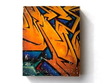 Graffiti Art, Photo Art Block, Limited Edition Image Transfer on Wood Panel by Patrick Lajoie, 'Graffiti Gold', street art, pop culture