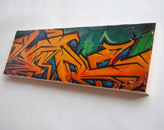 "Graffiti Gold - Limited Edition Fine Art Photo Transfer on 10""x30"" Wood Panel by Patrick Lajoie"