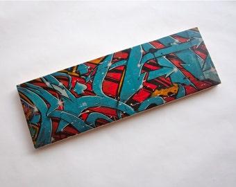 "Graffiti Blues - Limited Edition Fine Art Photo Transfer on 10""x30"" Wood Panel by Patrick Lajoie"