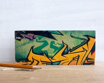 Graffiti Gold and Aqua Photo Transfer Mini by Patrick Lajoie