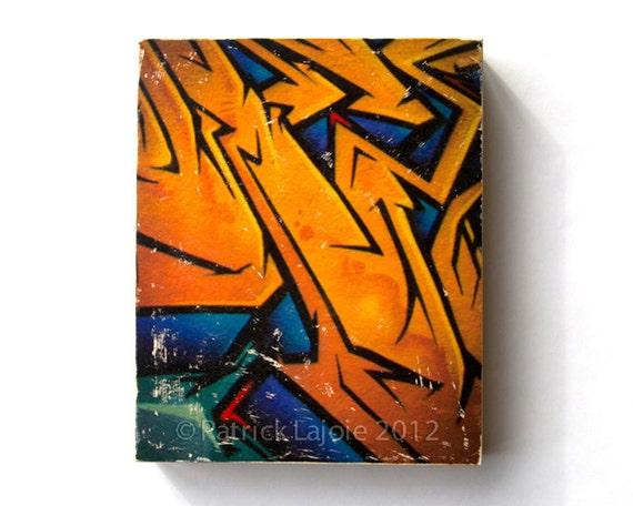 "Graffiti Gold - Limited Edition Fine Art Photo Transfer on 8""x10"" Wood Panel by Patrick Lajoie"