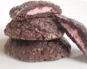 Raspberry Cheesecake Chocolate Cookies - Chocolate Sugar Cookies Stuffed with Raspberry Cheesecake - one dozen