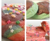 Cookie Sampler: mint chocolate cookies, strawberry cake batter blondies, unicorn poop sugar cookies - 12 cookies