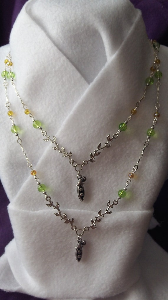 Two Peas in a Pod Mother/ Daughter, Sisters Handmade Beaded Necklace