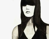 5x7 Black and White Giclee Print of Drawing of a Woman With Eyes Closed