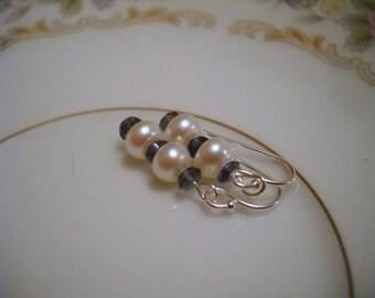 Amethyst an Pearl Earrings in Sterling Silver