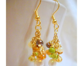 Multi-Color Dangle Earrings, Pearl Earrings with Pearl