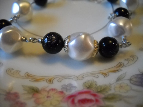 Clearance Pear Vintage Bead and Goldstone Bracelet or Anklet in Silver