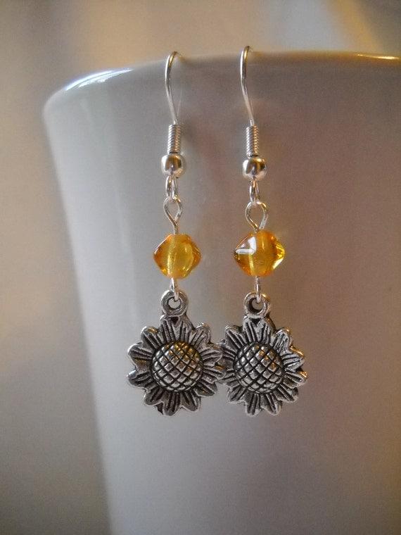 Metal Sunflower Dangle Earrings with Czech Bicone