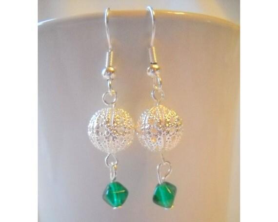 Silver Filigree Earring, Green Bead Earring