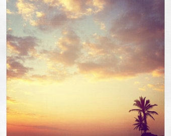 Beautiful End - 5x5 Metallic Featuring Palms Trees At Kona Sunset