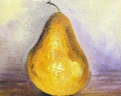 Still Life painting acrylic painting on small canvas bosc pear food & fruit signed by artist