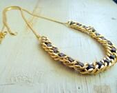 "Metal & Leather Necklace - ""Gormet"""