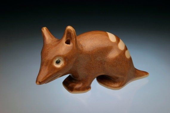 Miniature animals; Barred Bandicoots; cute little Australian animals; ceramic sculpture; clay animals.