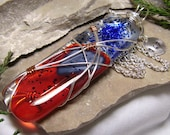 Fire & Ice - Wire Wrapped Fused Glass Large Modern Art Pendant Necklace - 107 Designs - Swansea - Chicago